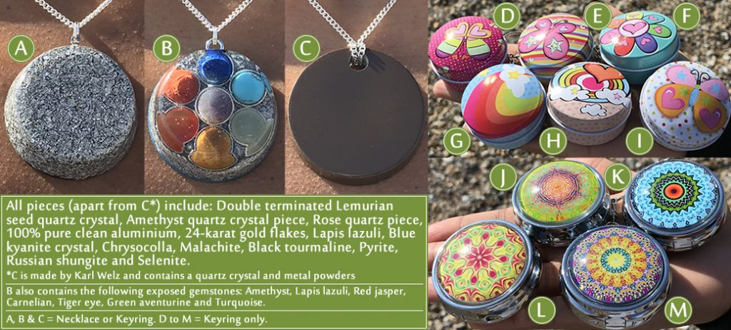 The full range of updated lemurian orgonite pendants